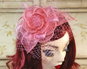 SALE - Salmon Pink Fascinator - Pink Wedding Fascinate - Kentucky Derby Hat - Tea Party Hat with Netting - British Fascinate
