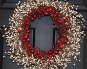 Valentine Wreath - Berry Wreath - Holiday Wreath