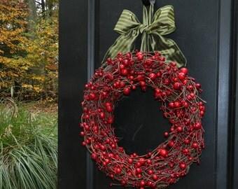 Berry Wreath - Valentine Wreath - Holiday Wreath