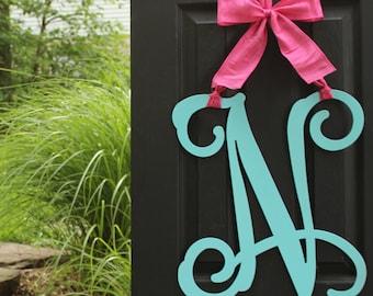 Letter Wreath - Door Wreath - Monogram Door Hanging - Metal Monogram - Choose letter and bow color