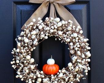 Give Thanks Wreath - Cream Berry Wreath - Fall Wreath - Thanksgiving Wreath