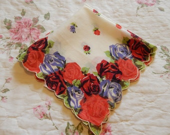 Beautiful Bright Colors Red Rose Large Handkerchief Ladies Hankie Cottage Chic
