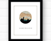Vancouver map art | Vancouver, British Columbia art | Vancouver skyline print | Canada art | Vancouver BC map art | Vancouver wall art