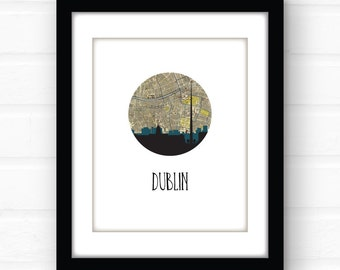 Dublin skyline | Dublin map art print | Dublin print | Dublin Ireland map art | Ireland print | Ireland travel poster | Ireland poster