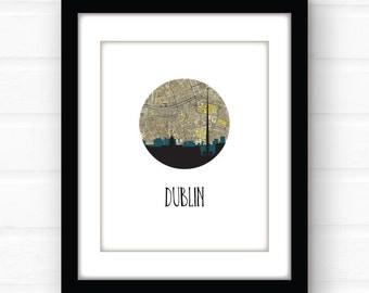 Dublin skyline | Dublin map art print | Dublin print | Dublin Ireland map art | Ireland print | Ireland travel poster | Ireland poster