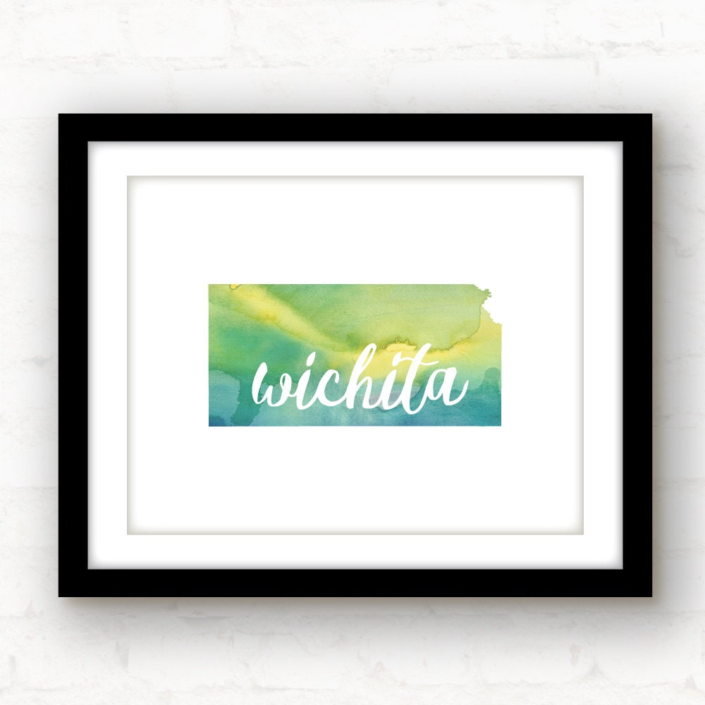 Wichita kansas art kansas print kansas decor watercolor for Craft stores wichita ks