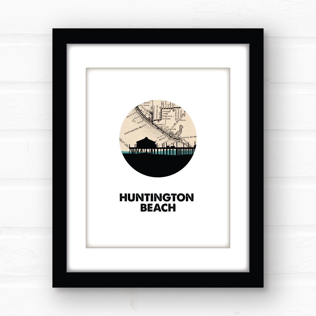 Huntington Beach Wall Decor : Huntington beach decor california wall art southern