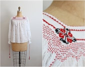 70s Gauze Boho Floral Embroidery Top / Indian Top / Bohemian Blouse/ Tassels / 1970s