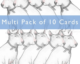 Multi Card Pack Bull Terrier Larger format Cards 10 of your own choice