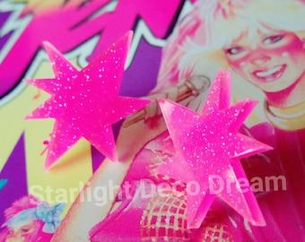 Jem and the Holograms Inspired Glittering Pink Sunburst Earrings for Magical Girl, Halloween, 80s Nostalgia Party, Fairy Kei