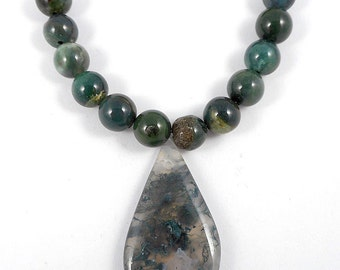 13pcs tear drop focal beads set-Untreated natural Green Moss Agate gemstone pendant and loose beads