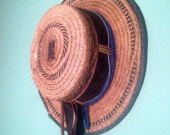 Vintage Guatemalan Mayan woven straw hat with ribbon