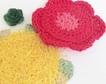 Crochet Kitchen Scrubby, Flower Dish Cloths, Dish Scrubby Cloths, Flower Scrubby Crochet, Housewarming Gift, Handmade Home Decor, 99516