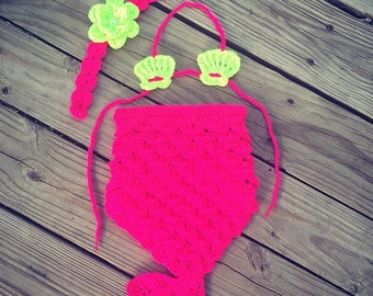 Newborn Baby Girl Crochet Neon Pink Yellow Crocodile Stitch MERMAID TAIL Photo Prop w/Shell Bikini and Daisy w/Pearl ~ Cute Photo Prop