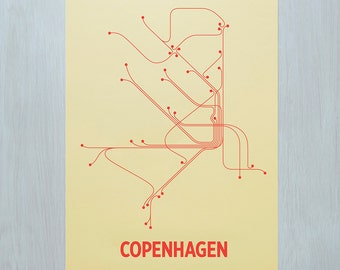 Copenhagen Screen Print- Yellow/Coral