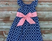 Girls Spring Summer Navy Lattice Flutter Sleeve Dress with Sash - 6 12 18 24 2T 3T 4T 5/6 7/8 9/10 11/12 Sister Dress Matching Outfit