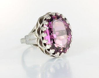 Victorian Amethyst Ring, Victorian revival, Sterling Silver Ring, Purple crystal, Adjustable size 5 signed D vintage jewelry