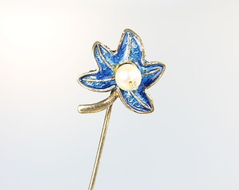 Blue Enamel Stick Pin, Pearl Chinese export Sterling silver Hat Leaf Pin, Plique a Jour