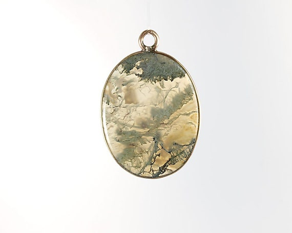 Golden Moss Agate: Moss Agate Pendant Antique Victorian Pendant Jewelry 10k