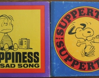Two Vintage Books Snoopy Charles M. Schulz Suppertime Suppertime Happiness is a Sad Song Peanuts Books Charlie Brown 1967 1968 AS IS