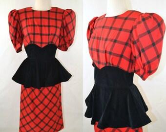 1980s Red and Black Plaid, Black Corduroy Peplum Waist Dress by Leslie Luck