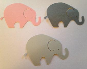 24 Extra Large Gray Pink Elephant Cutout  Elephant Punch Elephant Die Cut Elephant Embellishment Elephant Cupcake Topper