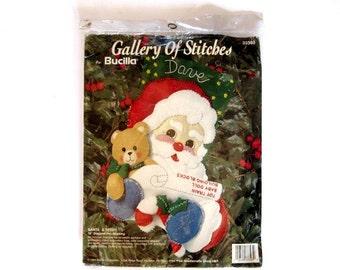 Bucilla Gallery of Stitches Santa & Teddy Felt Applique Christmas Stocking Kit 33393