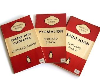 Vintage Penguin Classics Books Set of 3 Caesar and Cleopatra Pygmalion Saint Joan Classic Books 1951