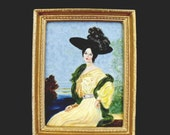 Dollhouse  Miniature Original Painting, 1:12 Scale Framed Painting Portrait of French Dancer Cléo de Merode after F.A.von Kaulback