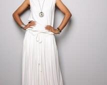 Off White Maxi Dress -  Sleeveless dress : Autumn Thrills Collection No.9s