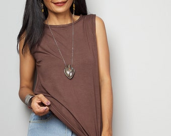 Brown Top / Sleeveless Soft Brown T Shirt / Light Brown Tank Top : Urban Chic Collection No.4