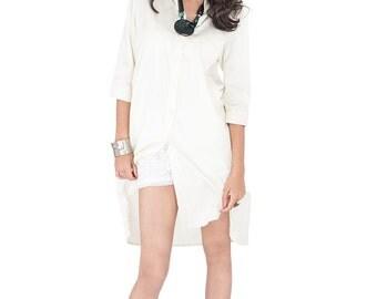 Shirt Dress / Long Sleeve buttermilk / Long Off White Shirt  / Women's shirt / Long Boho Shirt : Simply Touch Collection No.3