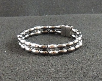 Magnetic Hematite Black and Silver Ovals Bracelet