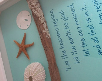 Coastal WORD Art with Shells, Driftwood and Bible Verse  - 8 x 11 - Mint Aqua and White