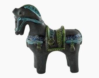 """Vintage Aldo Londi for Bitossi Ceramiche """"Cavallo"""" Horse in Charcoal, Blue and Green"""