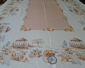 Vintage Flower Park Tablecloth / Vintage Cotton Tablecloth / Gazebo / Flower Cart / Old Fashioned Lamp / Picket Fence / Flowers / Park