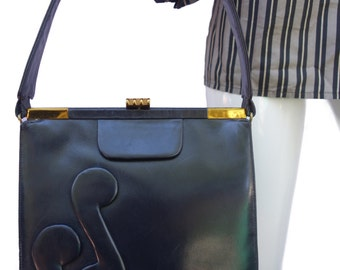 KORO Creation Vintage 50s Leather Handbag with Musical Notes