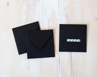 """Black Mini Square Envelopes - 10 pc - 2.75"""" x 2.75"""""""