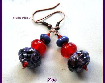Purple and Red Earrings,Dangle Earrings,Lampwork Earrings,Colorful Earrings - ZOE