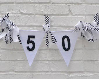 Adult Birthday Banner - adult cake smash - 50 Birthday - 50 Anniversary - adult birthday decorations - black and white banner - fifty party