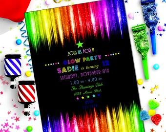 GLOW - NEON Party PRINTED Invitations ~ Bella Bella Studios