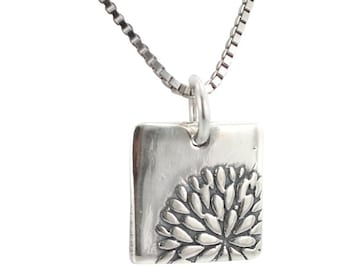 Flower Necklace, Dahlia Flower Pendant, Sterling Silver Flower, Girls Flower Necklace, #7232