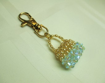Purse Charm or Zipper Pull in Pale Blue Crystal