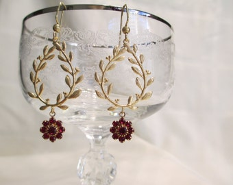 Dangle Earrings in Ruby Red and Gold