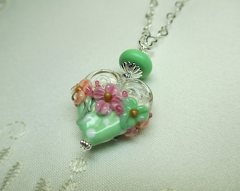 Mint Green and White Polka Dot Heart Lampwork Bead Pendant Necklace