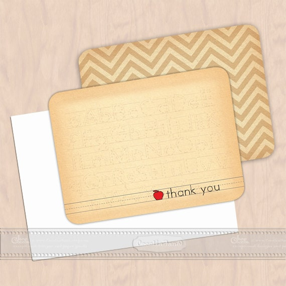 personalized notecards - set of 16 - thank you cards, teacher notecards, chevron notecards, personalized stationery, NS118b