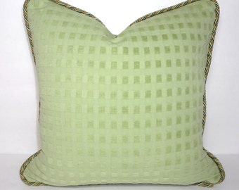 Apple Green Waffle Piped Pillow Cover Decorative Green Pillow Cover Size 16x16