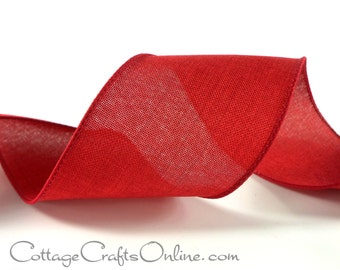 """Wired Ribbon, 2 1/2"""", Red Linen Look - THREE YARDS -  """"Linen Country"""" Christmas, Valentine, Patriotic Craft Wire Edged Ribbon"""