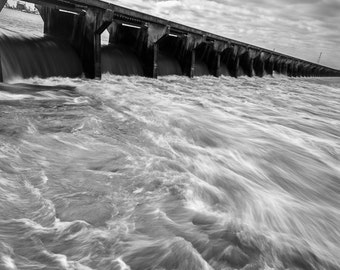 Mississippi River, Louisiana, Flood, Black and White Photography, Long Exposure