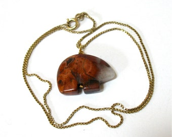 1980's Spirit Bear Pendant Necklace, Veined Jasper, Brown, 925 Sterling Chain, Gold Overlay, Zuni, Fetish, Stone Totem, Gift Idea, Excellent
